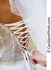 Wedding dress - Bride getting a wedding dress