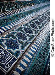 Tiled background, oriental ornaments from Uzbekistan