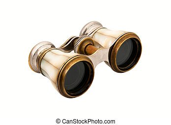 Opera glasses - The old opera glasses, pearl shell on white...