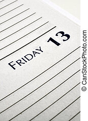 Friday the 13th - Personal planner opened to Friday the...