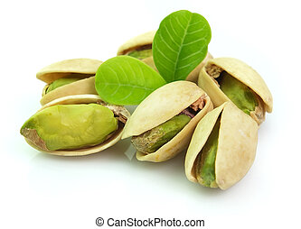 Dried pistachio with leaves