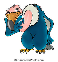 vulture thinking - cartoon bird icon - vulture thinking