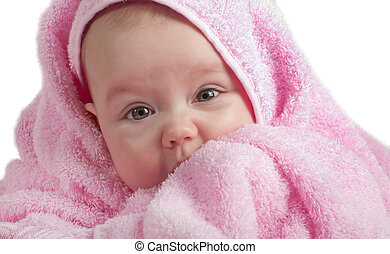 Cute baby with pink towel on a white