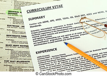 Curriculum Vitae Form beside classified ads with engineer...