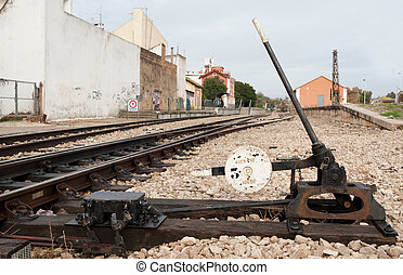 Railway switch - Old manual railway switch against the...