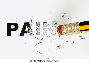 Removing Pain concept with eraser and pencil.