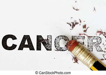 Eradicate cancer - Eradicate remove cancer concept as eraser...