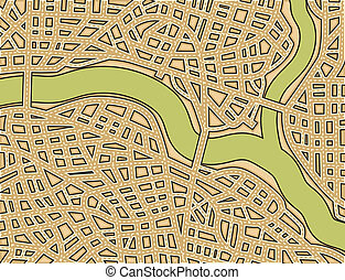 Blank street map - Editable vector illustration of a generic...
