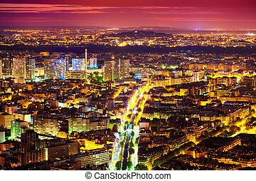 Paris at Night - Panorama of Eastern Paris at Night taken...