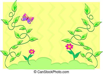 Frame of Green Plants and Flowers