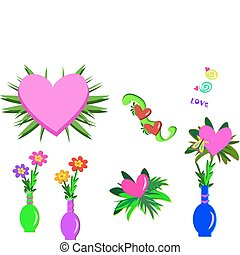 Mix of Hearts, Vases and Plants