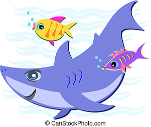 Blue Shark with Two Fish Friends