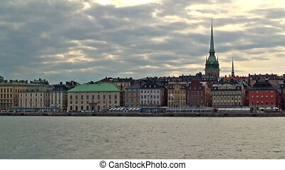 Evening cityscape of Stockholm, Sweden