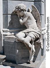 anjo, estátua, Recoleta, cemitério, Buenos,...