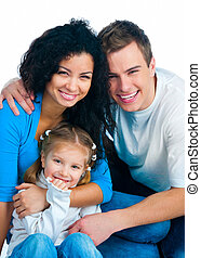 Happy family isolated on a white background