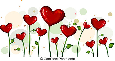 Blooming Love - Illustration of Abstract Heart-shaped...