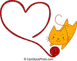 Cat Playing with Yarn - Illustration of a Cat Playing with a...