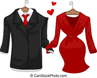 His and Hers - Illustration of a Pair of Formal Attire for...