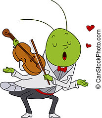 Grasshopper Playing the Violin - Illustration of a...