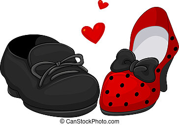His and Hers Shoes - Illustration of a Pair of Shoes for Men...