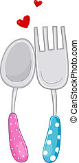 His and Hers Spoon and Fork - Illustration of a Pair of...
