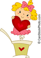 Pop-up Doll - Illustration of a Pop-up Doll Holding a Heart