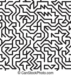 Abstract background with complex maze - Black-and-white...