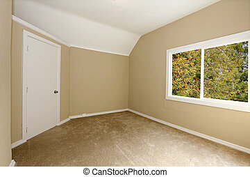 New beige bedroom with carpet