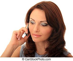 Beautiful girl communicates