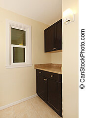 New brown black cabinets in the corner - Corner with new...