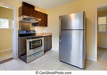 nuevo, moderno, cocina, estufa, refrigerador