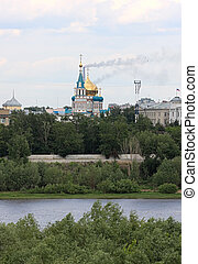 A temple is in industrial town. Omsk. Russia.
