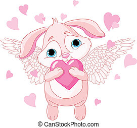 Cute rabbit with love heart - Cute rabbit with wings holding...