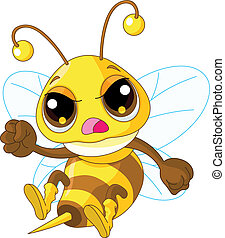 Cute angry Bee - Illustration of angry Cute Bee in fly