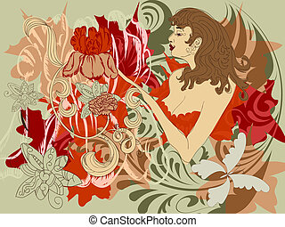 woman with flowers instead of hands - vector woman with...