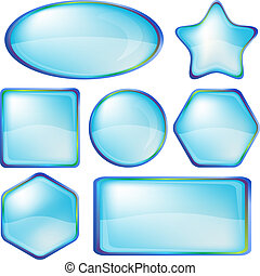 Icons buttons blue, set