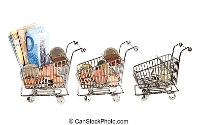 More or less money - Three shopping carts full of money and...