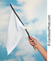 Waving a white flag - Female hand waving with a white flag...