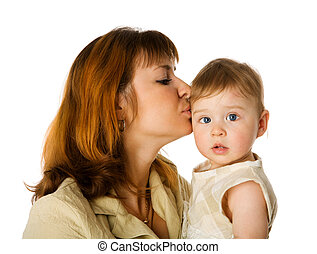 Mother kissing daughter - Mother kissing little daughter...