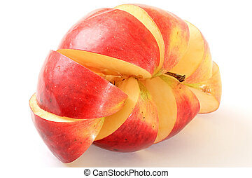 Apple. - An apple is cut by lobules on a white background.