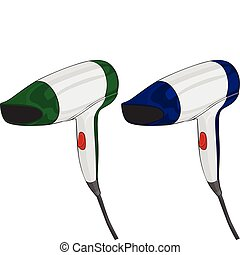hairdryers - fully editable vector illustration hairdryers