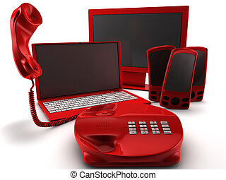 A bundle of four main telecommunication services isolated on...