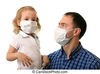 Family in medical masks - Dad with daughter in non-permanent...