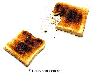 2 images of toast - 2 images of slightly burnt toast on a...