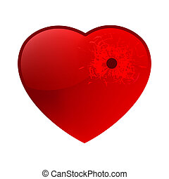 Bullet hole in heart. EPS 8 vector file included
