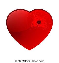 Bullet hole in heart. EPS 8