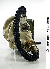 Gas mask - Old military gas mask on white background