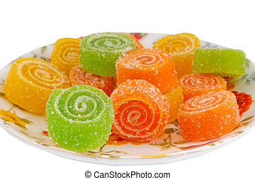Colorful fruit sugary candies close