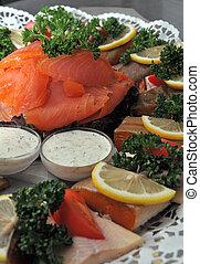 fish platter on a buffet