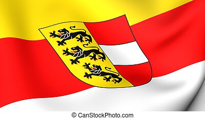 Flag of Carinthia. Close up. Front view.